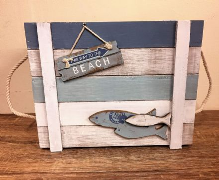 Large Wooden Nautical Distressed To The Beach Chest with Rope Handles